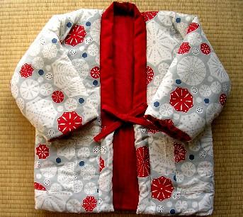 冬!和風部屋着、半纏(はんてん)の作り方☆こたつで温かい中綿入り着物